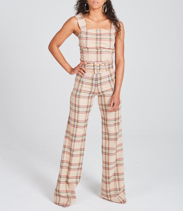 Checked Wide-Leg Pants