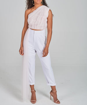 Crepe High-Waisted Cropped Pants