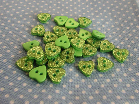 10MM GREEN GLITTER HEART BUTTONS