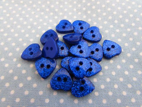 10mm Blue Glitter Heart Buttons