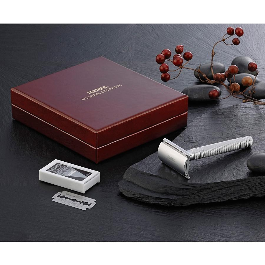 Feather AS-D2 Stainless Steel Double Edge Razor, Made in Japan Double Edge Safety Razor Feather