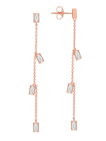 Prism Baguette Drop Earrings finished in 18KT Rose Gold