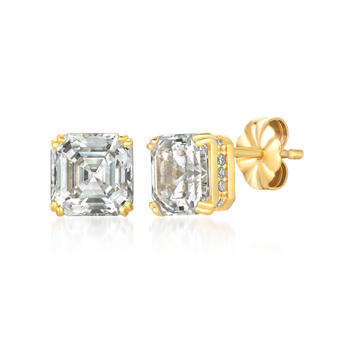 Royal Asscher Cut Earrings finished in 18KT Gold