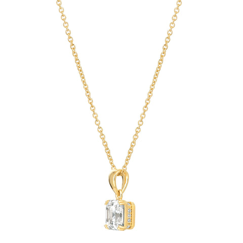 Royal Asscher Cut Pendant Necklace finished in 18KT Gold