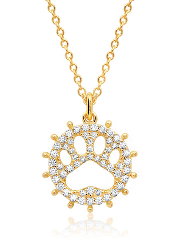 Motif Paw Print Pendant Necklace finished in 18kt Gold