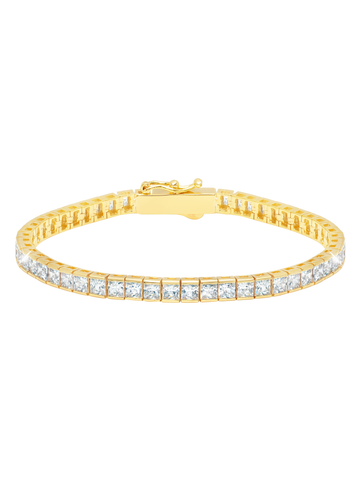 Classic Medium Princess Tennis Bracelet Finished in 18KT Gold