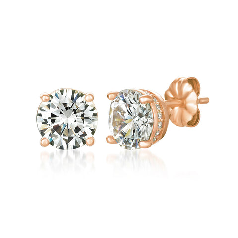 Royal Brilliant Cut Earrings Finished in 18KT Rose Gold