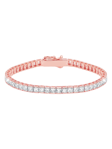 Classic Medium Princess Tennis Bracelet Finished in 18KT Rose Gold