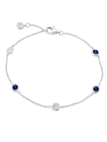 Bezel Bracelet With Clear And Sapphire CZ Finished in Pure Platinum