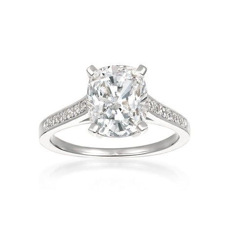 Radiant Cushion Cut Ring finished in Pure Platinum