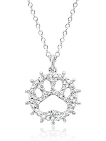 Motif Paw Print Pendant Necklace finished in Pure Platinum