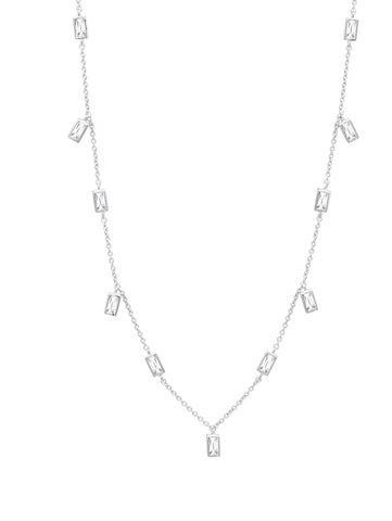 "Prism Baguette 16"" Necklace finished in Pure Platinum"