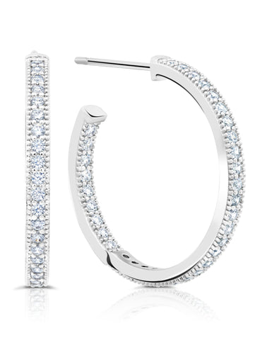 Small Pavé Open Ended Hoops