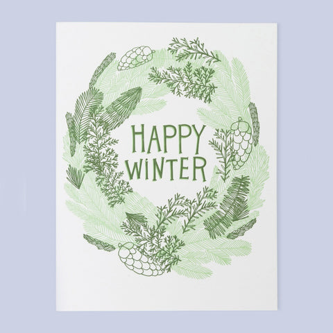 Happy Winter Wreath Card