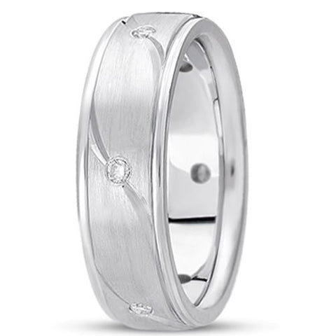 0.18ctw Diamond 14K Gold  Wedding Band (7mm) - (F - G Color, SI2 Clarity) - JewelryAffairs