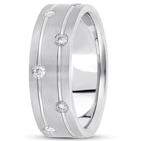 0.36ctw Diamond 14K Gold  Wedding Band (7mm) - (F - G Color, SI2 Clarity) - JewelryAffairs