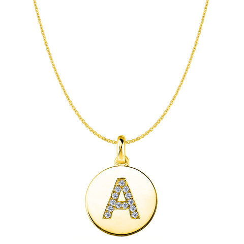 """A"" Diamond Initial 14K Yellow Gold Disk Pendant (0.13ct) - JewelryAffairs  - 1"