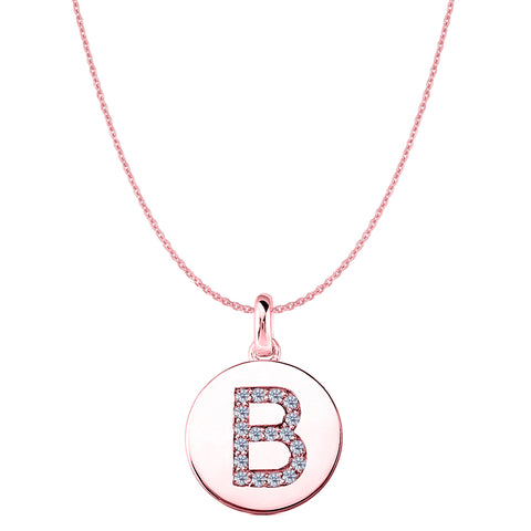 """B"" Diamond Initial 14K Rose Gold Disk Pendant (0.18ct) - JewelryAffairs  - 1"