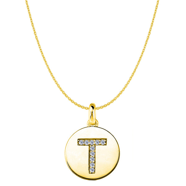"""T"" Diamond Initial 14K Yellow Gold Disk Pendant (0.10ct) - JewelryAffairs  - 1"