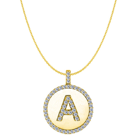 """A"" Diamond Initial 14K Yellow Gold Disk Pendant (0.53ct) - JewelryAffairs  - 1"