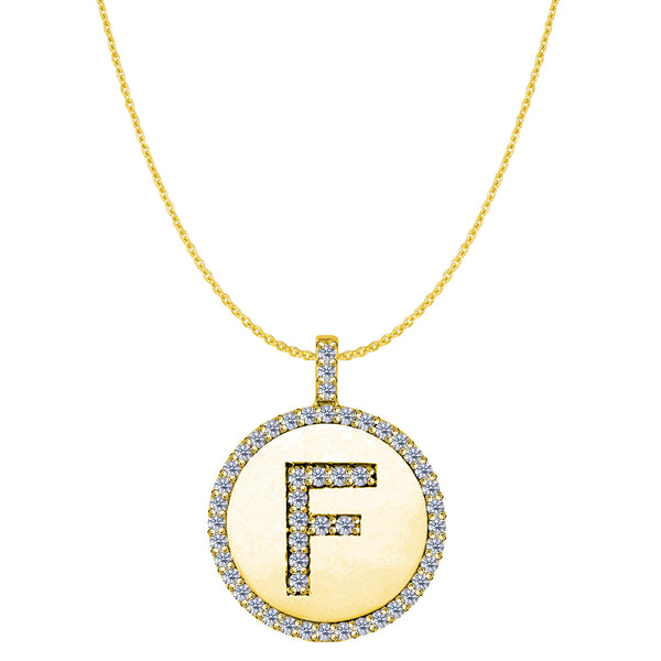 """F"" Diamond Initial 14K Yellow Gold Disk Pendant (0.51ct) - JewelryAffairs  - 1"