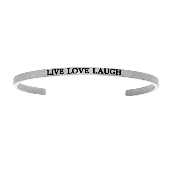 Intuitions Stainless Steel LIVE LOVE LAUGH Diamond Accent Cuff Bangle Bracelet