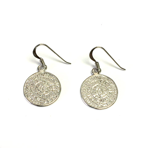 Sterling Silver Rhodium Plated Phaistos Disc Drop Earrings