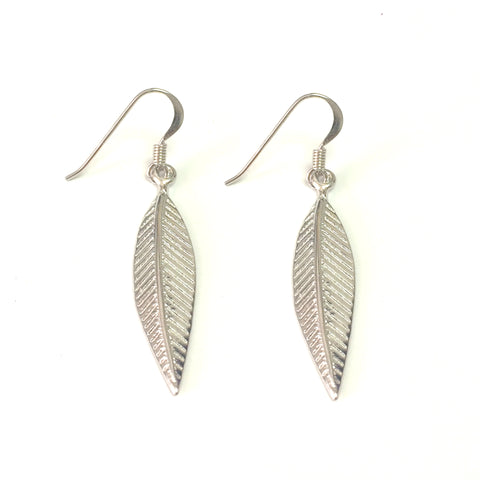 Sterling Silver Rhodium Plated Greek Olive Leaf Drop Earrings
