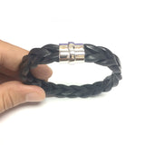 Sterling Silver And Round Braided Black Leather Bracelet, 8.25""
