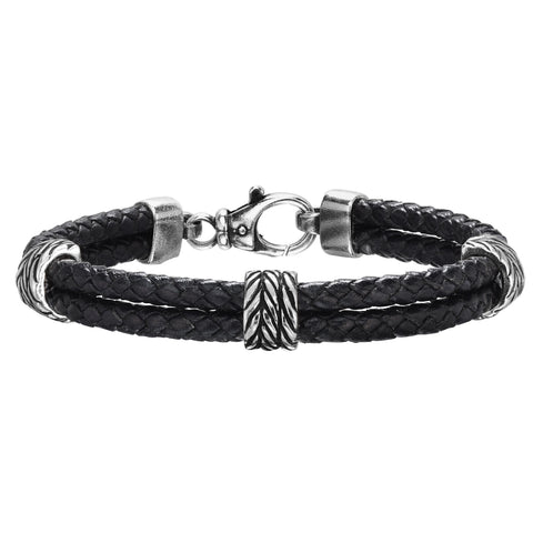 Sterling Silver And Oxidized Finish Woven Leather Bracelet, 8.25""