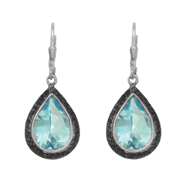 Faceted Tear Drop Blue Topaz Earrings Set In Sterling Silver Surrounded By Black Spinel - JewelryAffairs  - 1