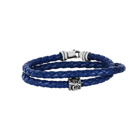 Sterling Silver And Oxidized Fleur De Lis Symbol Blue Leather Bracelet, 8""