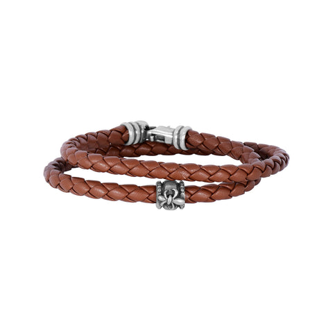 Sterling Silver And Oxidized Fleur De Lis Symbol Brown Leather Bracelet, 8""