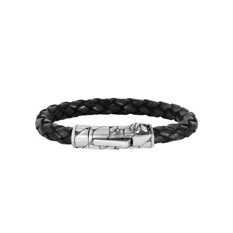 Black Braided Leather And Oxidized Silver Fleur De Lis Symbol Bracelet, 8""
