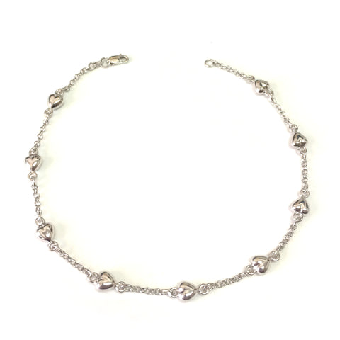 14K White Gold Heart Charms Chain Anklet, 10""