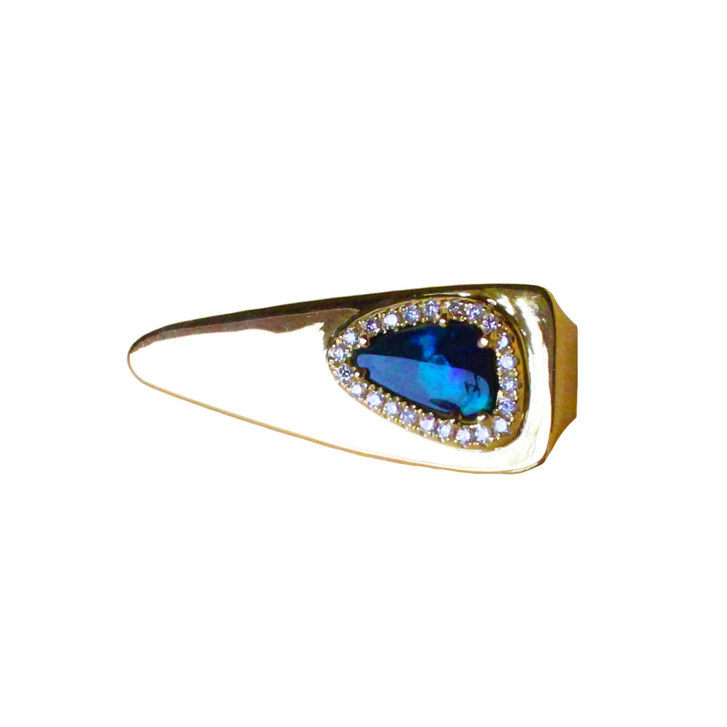 Australian black opal diamond solid 14k yellow gold tie clip - Ready to ship CLICK HERE - Sarah Hughes - 1