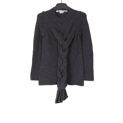 Comme des Garcons AW14 DARK GREY PLAITED WOOLEN SWEATER