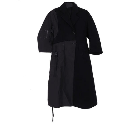 YANG LI AW18 BLACK PU/PA BLENDED KTC LONG COAT