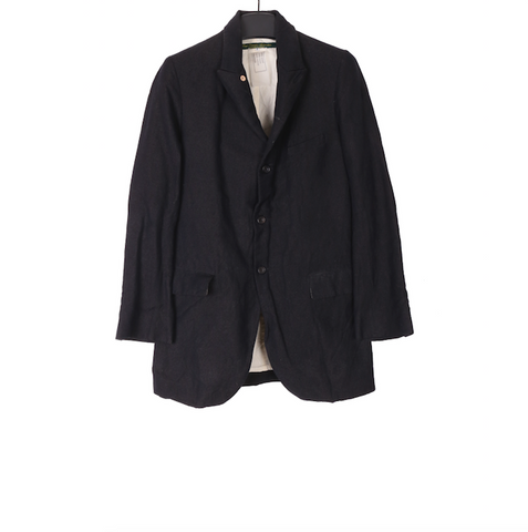 PAUL HARNDEN SHOEMAKERS BLACK COTTON AND LINEN BUTTON UP BLAZER