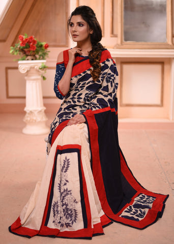 Exclusive block printed indigo & off white chanderi pleats combination saree