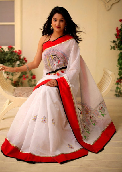 Saree - Exclusive Hand Painted Saree On White Chanderi
