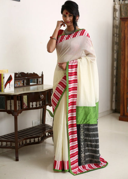 Saree - Off White Chanderi With Ikat Border & Kantha Patch On Silk
