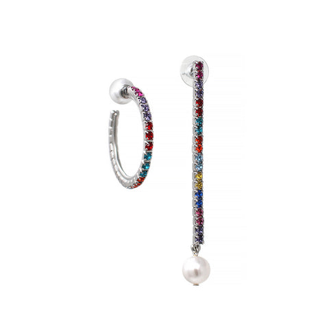 Asymmetrical Earrings W/ Small Crystal Hoop & Pearl Back And Crystal Bar & Pearl Drop - Rhodium/Rainbow
