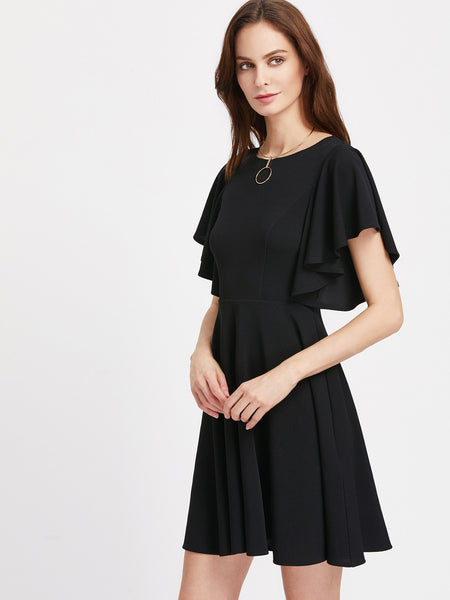 Black Round Neck Flutter Sleeve Skater Dress