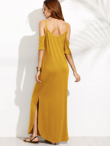 Yellow Cold Shoulder Double Scoop Slit Dolphin Hem Maxi Dress
