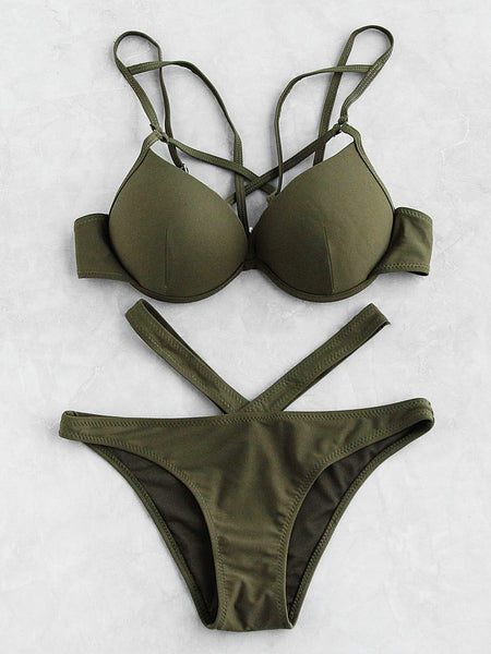 Green Cut Out Bustier Strappy Bikini Set