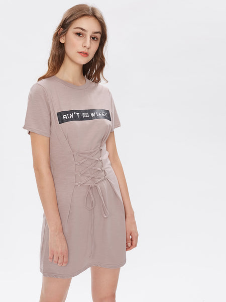 Pink Round Neck Short Sleeve Letter Print Lace Up Corset Dress
