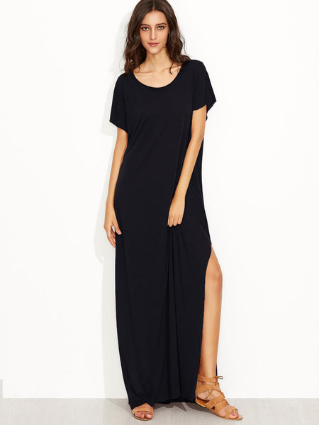 Black Scoop Neck Side Split Loose Maxi Tee Dress