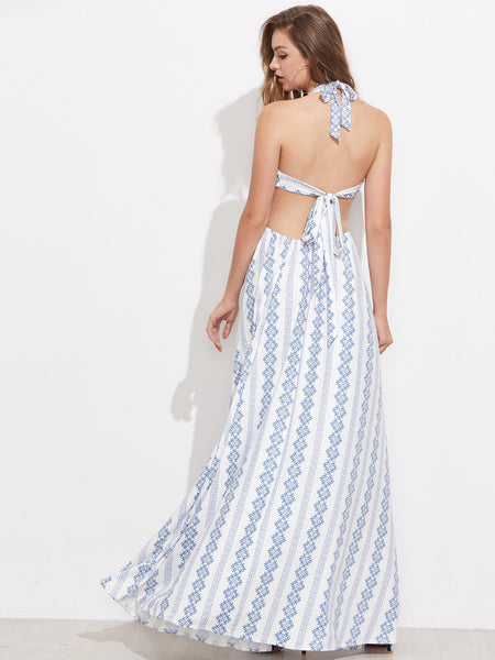 White Vintage Print Backless Tie Back Maxi Dress