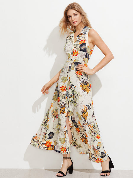 Apricot Botanical Print Buttoned Front Shirt Dress
